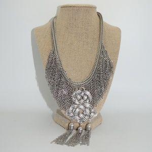 Chico's Silver Fringe Bib Necklace